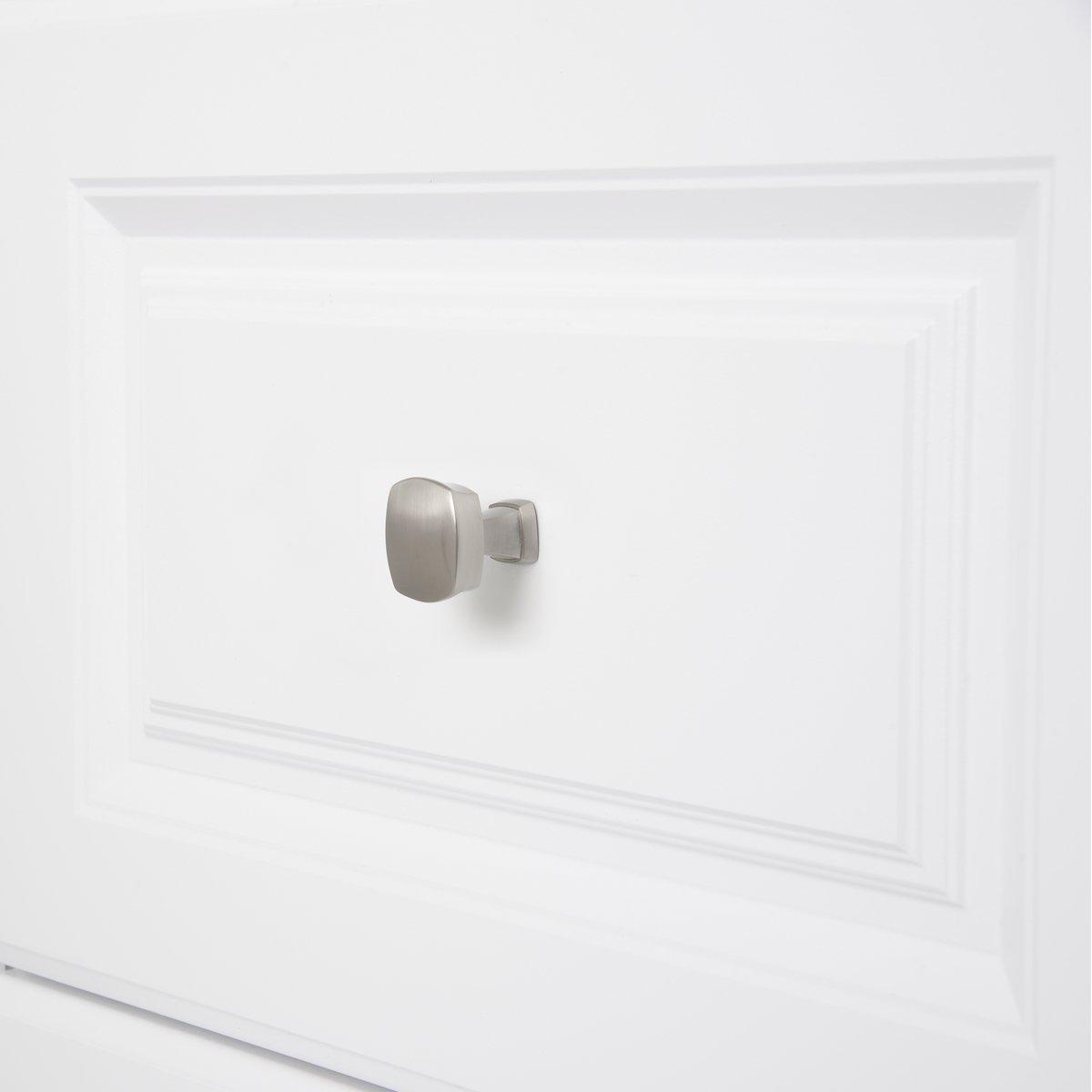 3,2 cm de di/ámetro Pomo de armario redondo y cuadrado Cromo pulido Paquete de 25 Basics