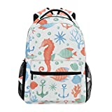 School Bags, Coral Hippocampus Shellfish Boathook Travel Laptop Large Lightweight Durable Outdoor Backpack Hiking Camping College Cute Casual Rucksack Bookbag Daypack for Women Men Girls Boys