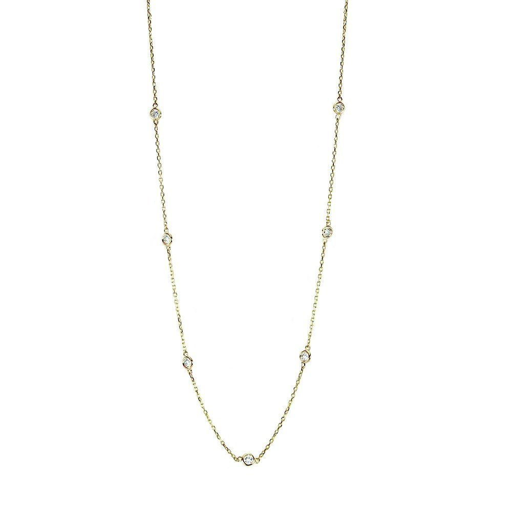 Handmade 14K Yellow Gold Station Necklace With .70 Carats Of Diamonds 16 - 18 Inches