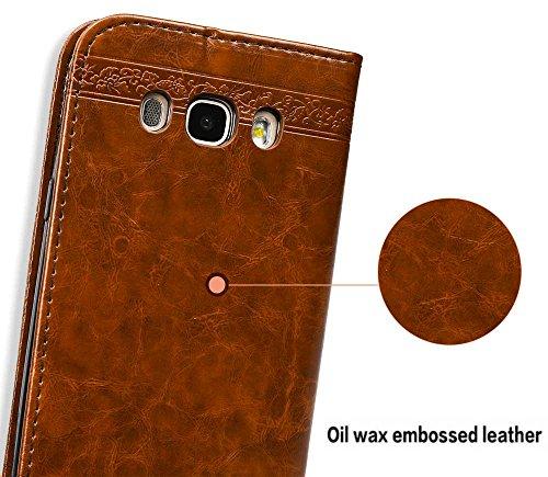 Samsung Galaxy J5 2016 Hülle, Samsung Galaxy J5 2016 Echte Rindsleder Brieftasche Hülle , COZY HUT® [Premium Leder Serie] [Wallet Case] Praktishe Ledertasche [Blau] Integrierter Aufstell Funktion und  Hellbraun geprägt