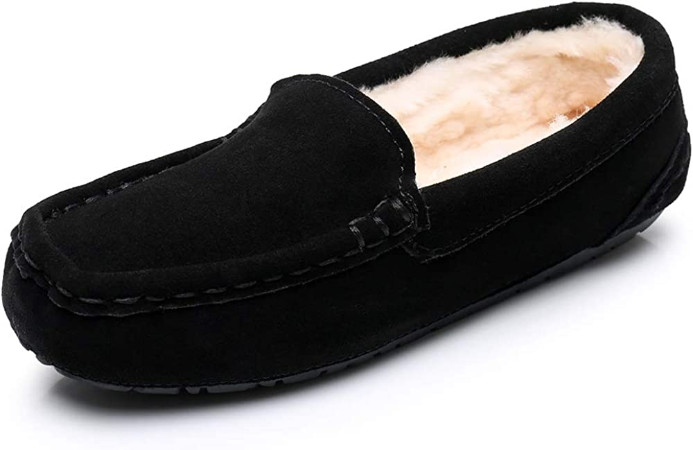 Real Fancy Women's Pure Wool Lined Moccasin Slippers Cow Suede Upper Non-Slip Winter Fur House Shoes