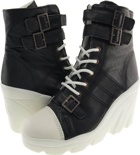 Maxstar Wh 3 Belt Synthetic Leather Wedge Heel Ankle Boots Black jJUJBEW
