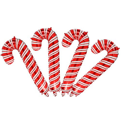 4 Pcs Christmas Candy Cane Foil Mylar Balloons Big Xmas Birthday Party Decoration Supplies Red and White