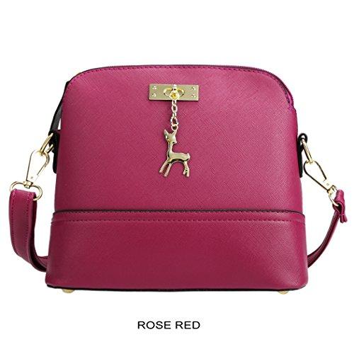 Tote Bag - All4you mujeres cuero sintético bandoleras bolso sólida pequeña cruz cuerpo Bag(Blue) Rojo