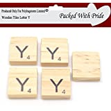 pack of 50 blank wooden scrabble tiles with black letters these