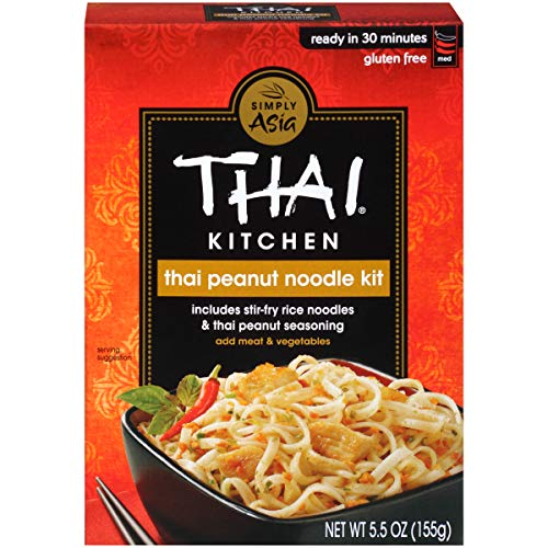 Thai Kitchen Gluten Free Thai Peanut Stir Fry Noodle Kit, 5.5 oz, Dairy Free Noodles, Pack of 6