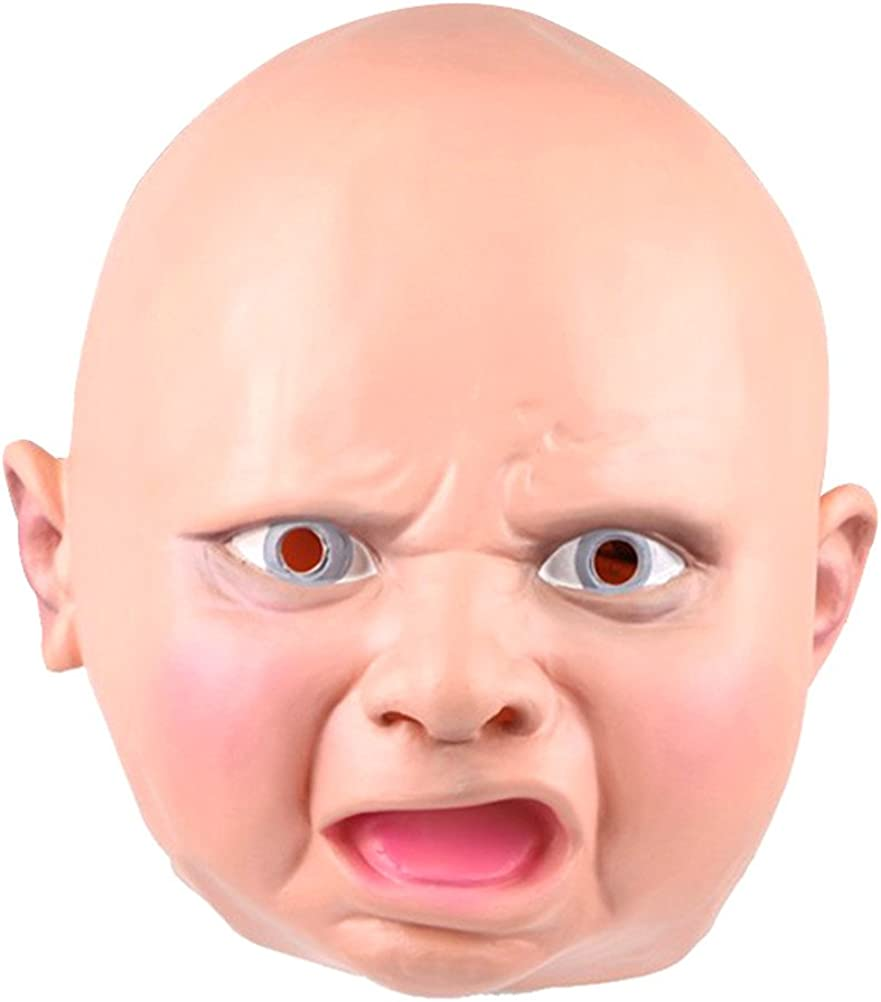Full Face Latex Crying Baby Mask Costume Accessory