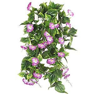 GTIDEA Artificial Vines, 2pcs 15Feet Morning Glory Hanging Plants Silk Garland Fake Green Plant Home Garden Wall Fence Stairway Outdoor Wedding Hanging Baskets Decor Purple 46