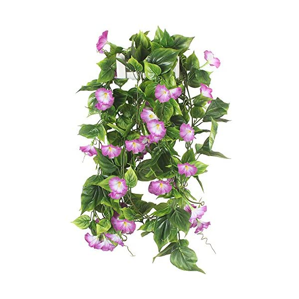 GTIDEA Artificial Vines, 2pcs 15Feet Morning Glory Hanging Plants Silk Garland Fake Green Plant Home Garden Wall Fence Stairway Outdoor Wedding Hanging Baskets Decor Purple