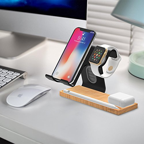 LAMEEKU Compatible Cell Phone Stand Replacement for Apple Watch Stand, Desktop Cell Phone Stand For all Android Smartphone, iPhone X 6 6s 7 8 Plus, Samsung, Apple Watch 38mm 42mm, iPad Airpods - Black by LAMEEKU (Image #7)