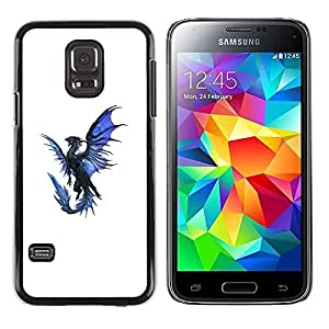 Plastic Shell Protective Case Cover || Samsung Galaxy S5 Mini, SM-G800, NOT S5 REGULAR! || Dragon Blue Black Flying Mythical Creature @XPTECH