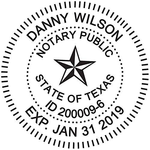 Pre Cover Stamp - Round Notary Stamp for State of Texas- Self Inking Stamp - Top Brand Unit with Bottom Locking Cover for Longer Lasting Stamp - 5 Year Warranty
