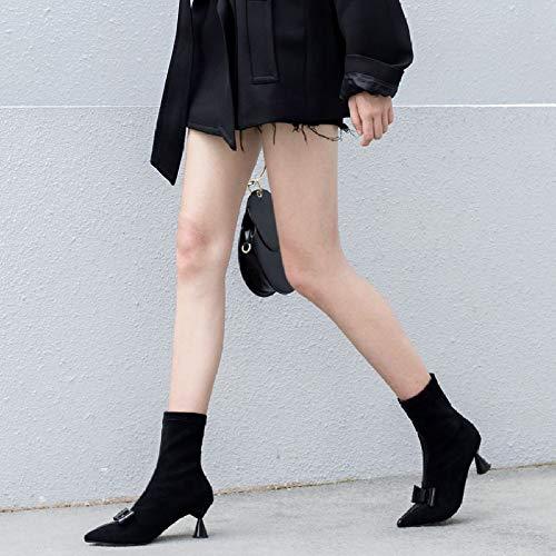 Stivaletti Stivaletti Farfalla Casuale Donna A ZWME ZWME ZWME Stivali Scarpe Black Signore Sexy Cravatta Festa Elasticizzati FxtaxYX