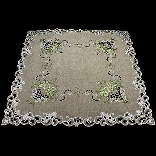 Linens, Art and Things Embroidered Green Leaf on Antique Green Fabric Table Topper, Small Table Cloth, Dresser Scarf 44'' x 44'' by Linens, Art and Things (Image #4)