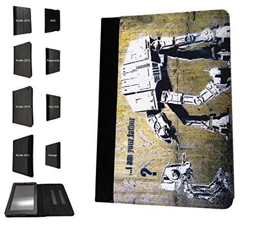 000548 - Banksy Graffiti Art Star War Robot Design Amazon Kindle Fire 7 (2017) Flip Case Purse pouch Stand Cover