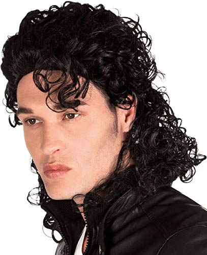 Mens Ladies Curly Black King of Pop 1990s Famous Person Music Celebrity 90's Wig Fancy Dress Costume Outfit Accessory -