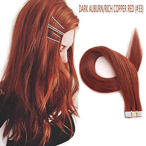 ShowJarlly 18 inches Remy Tape in Human Hair Extensions Dark Auburn/Vibrant Copper Red Brown (#33) Seamless Skin Weft PU Tape in Human Hair Extensions 40g 20Pieces/Pack