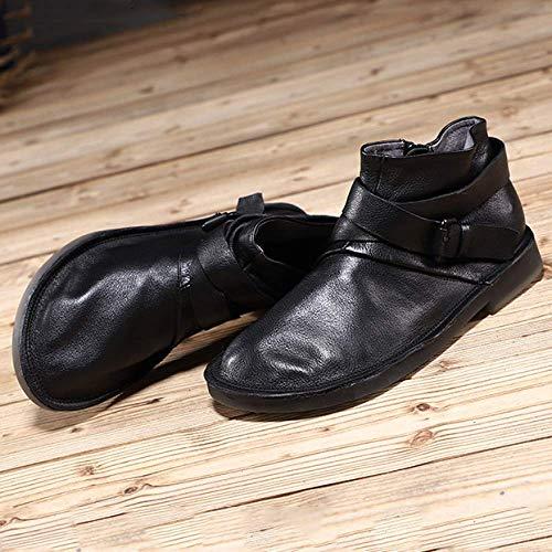 Confortable Chaussures Mou Portable Rétro pour ZPEDY Femmes Décontracté Chaussons Fond Black 0U4f1w