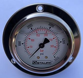stauff 4 hydraulic pressure guage stainless 5000 psi 1 2 npt