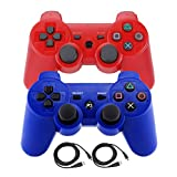 Bowink 2 Packs Wireless Bluetooth Controllers For PS3 Double Shock - Bundled with USB charge cord (Red and Blue)