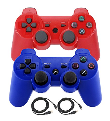 Bowink 2 Packs Wireless Bluetooth Controllers For PS3 Double Shock - Bundled with USB charge cord (Blue+Red)