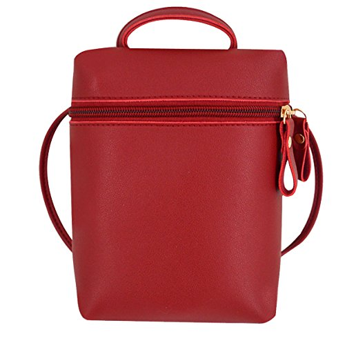 Meliya Womens Mini Cross-Body Bag PU Leather Cellphone Purse Casual Shoulder Bag Wallet Wine Red