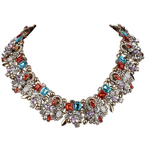 EVER FAITH Vintage Style Art Deco Statement Necklace Austrian Crystal Gold-Tone Dark ()