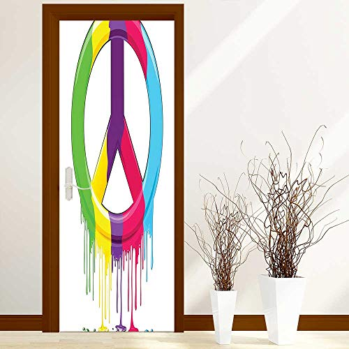 Sticker for Front Door Peace Symbol Dripping Paint Liquid Colors No War Pacifism Old Movements Anti-UV, Easy Installation W31 x H79 inch