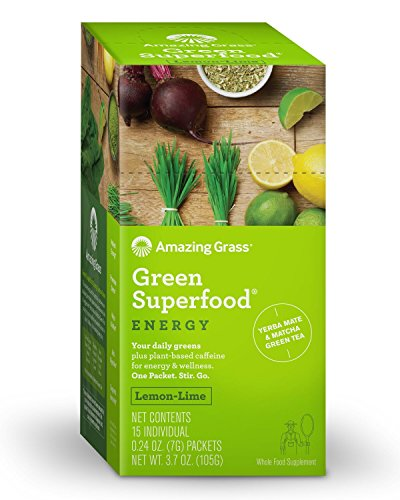 Amazing Grass Energy Green Superfood Organic Powder, Natural Caffeine with Wheat Grass, 7 Greens, Yerba Mate and Matcha Green Tea, Flavor: Lemon Lime, 15ct Packets
