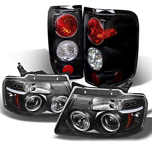 For Ford F150 F-150 Pickup Black Bezel Dual Halo LED G2 Projector Headlights Front Lamps + Tail Lamp Set -
