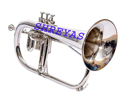 Bb Flat SILVER NICKLE Flugel Horn With Free Hard Case+Mouthpiece by SHREYAS