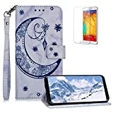 Funyee Magnetic Flip Case for Samsung Galaxy S8 Plus [Free Screen Protector],Luxury Moon Embossed Pattern PU Leather Soft Wallet Case [Built-in Credit Card Slots] for Samsung Galaxy S8 Plus,Blue