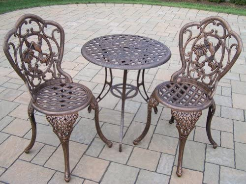 Oakland Living Hummingbird Cast Aluminum 3-Piece Bistro Set, Antique Bronze