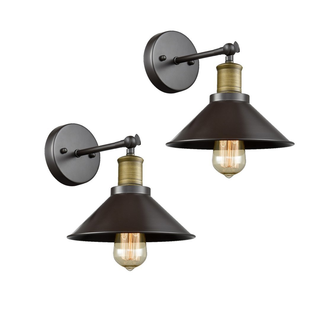 CLAXY Ecopower Industrial LED Simplicity Wall Sconce 2 Pack, Oil Rubbed Bronze Finish