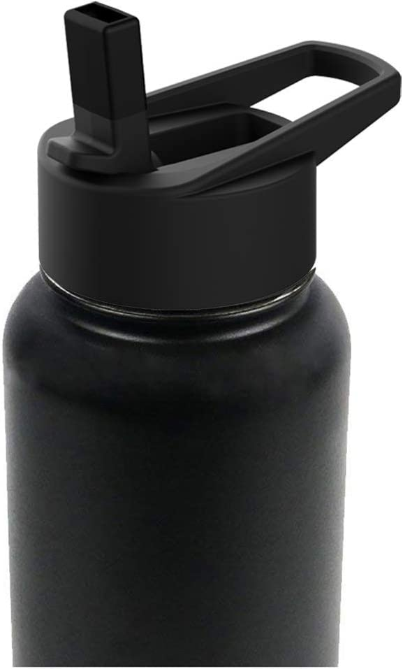 Straw Lid Wide Mouth Water Bottle for Straw Wide Mouth BPA Free, Sports Water Bottle (Black)