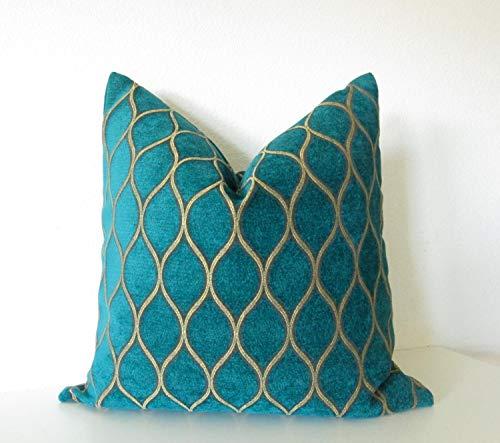 - Iman Home Malta Peacock teal gold lattice decorative pillow cover
