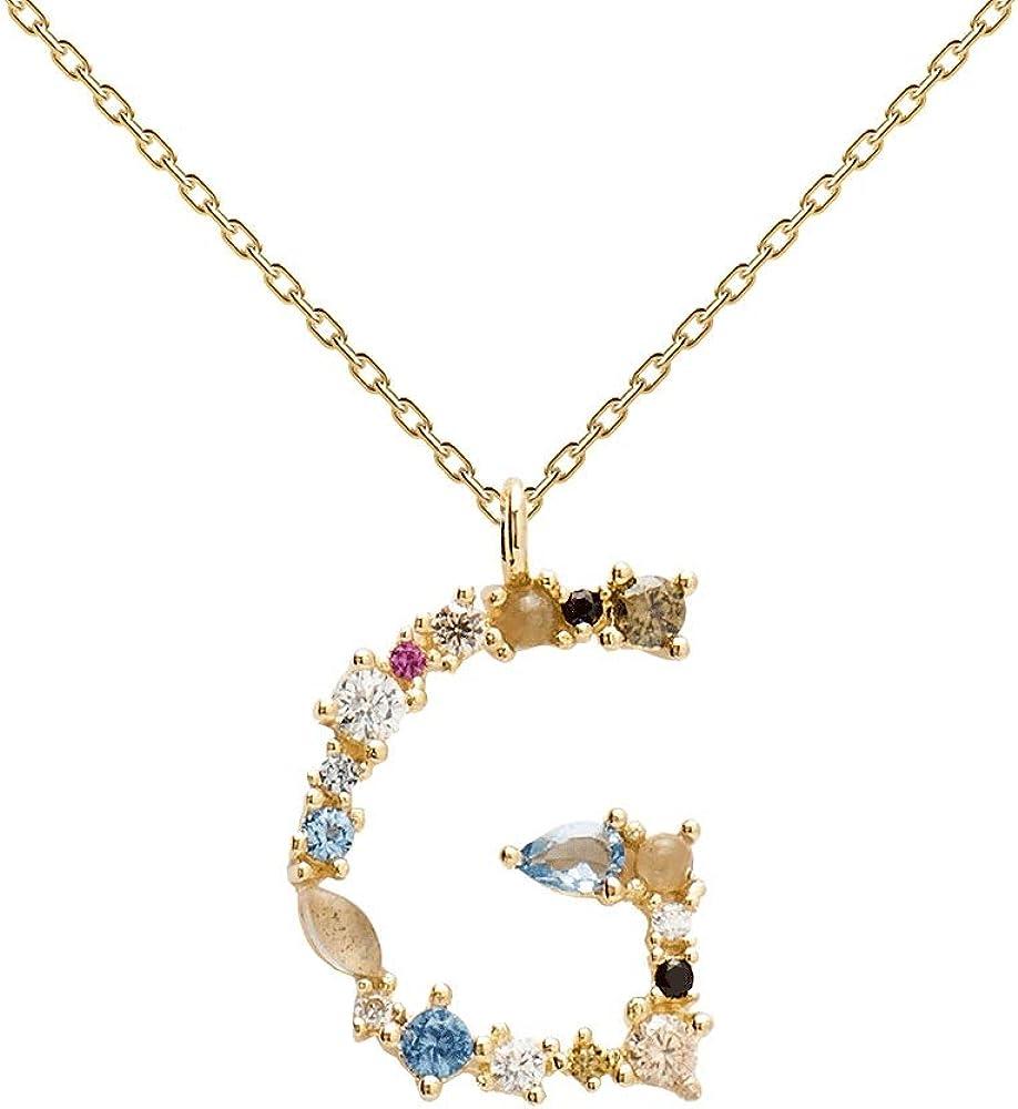 PDPAOLA - Collar Letra G - Plata de Ley 925 Bañada en Oro de 18k - Joyas para Mujer