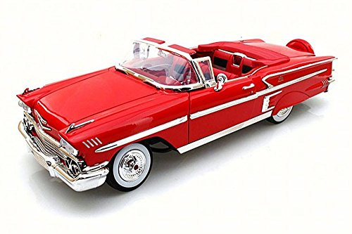 1958 Chevy Impala Convertible, Red - Motor Max 73112AC - 1/18 Scale Diecast Model Toy Car