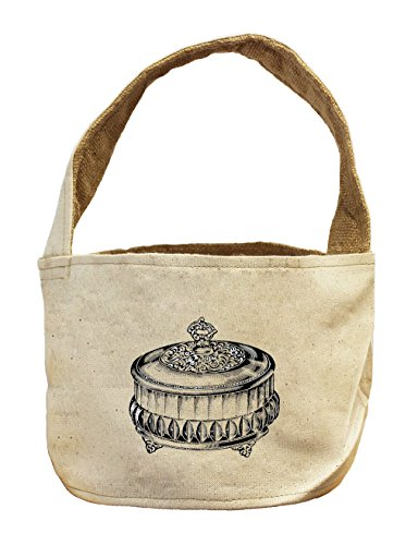 Berry Preserve Dish Vintage Look Canvas and Burlap Storage Basket