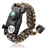 EZ Turbo Survival Bracelet, Survival Paracord Bracelet, Survival Gear Kit with SOS LED Light, Emergency Knife, Whistle, Compass, Fire Starter for Camping, Climbing, Waterproof