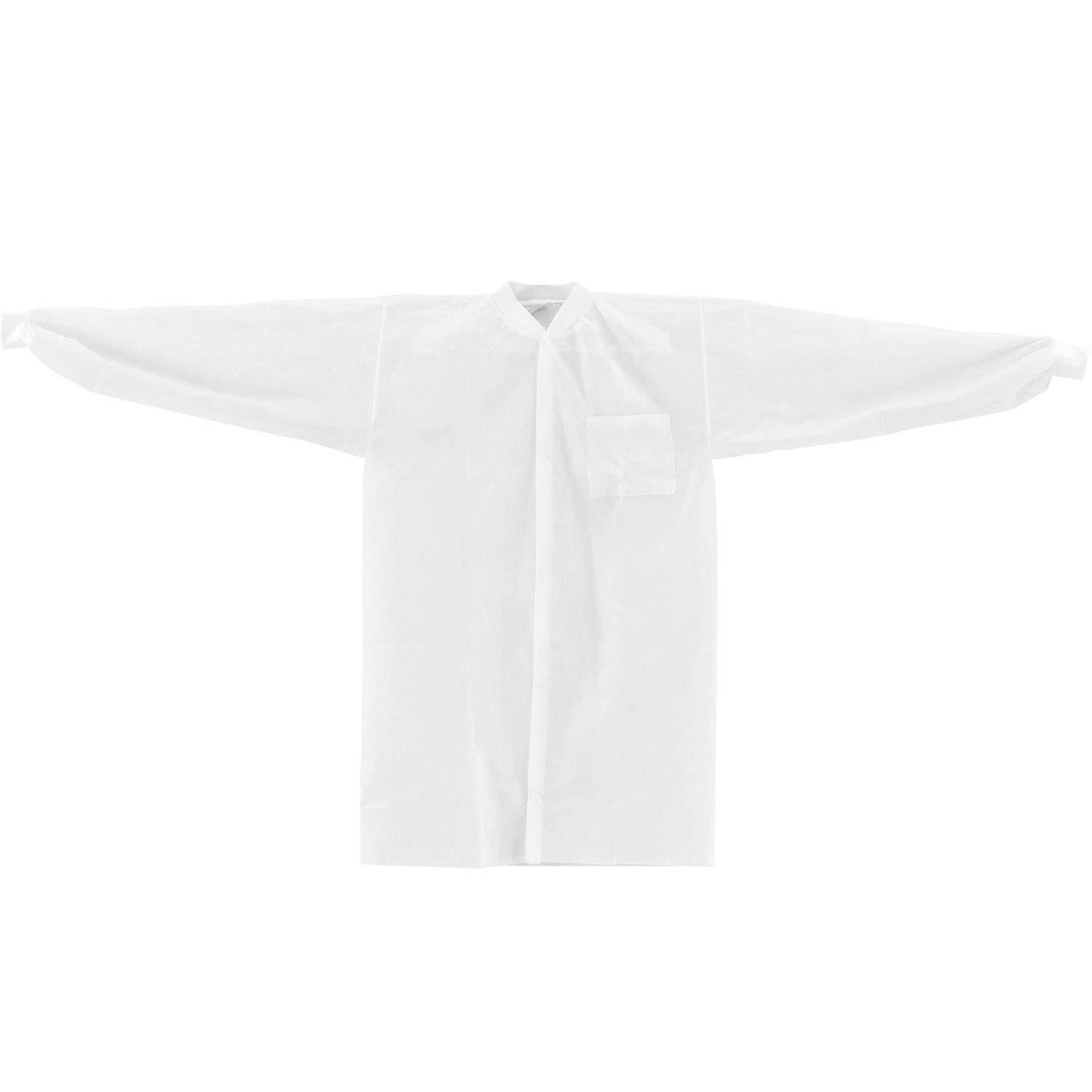 White Disposable Polypropylene Lab Coat - 1 Pocket, Knit Wrist & Collar, Snap Closure, 39'' x 24'', Small, Pack of 25 by One Stop Shop
