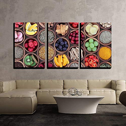 wall26 - 3 Piece Canvas Wall Art - Health and Super Food to Boost Immune System in Wooden Bowls - Modern Home Decor Stretched and Framed Ready to Hang - 16