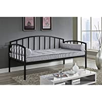 Black Metal Daybed/Sofa, Suitable For Any Room Bed Frame,Box Spring Not Required, Simple Assembly, Use As a Bed or Extra Seating, Contemporary Design, Could Accommodate Twin-sized Mattress (Black)