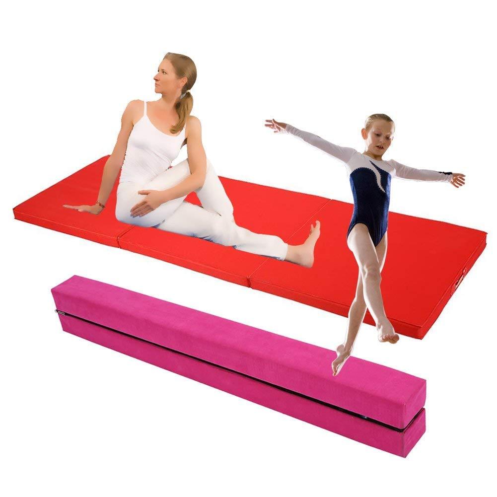 GOTOTOP 2, 2m Poutre Gymnastique Pliable Poutre Equilibre + Tapis de Gym Pliable Epais Large Mousse 180x60x5cm Entrainement Equilibre Exercice Fitness