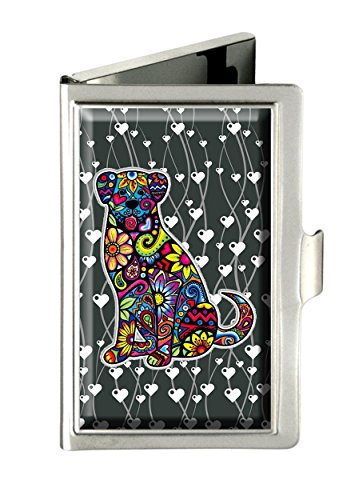 Supremecom Personalized Customized Silver Stainless Steel Business Card Credit Name ID Card Holder Case Organizer (Colorful Dog-5)