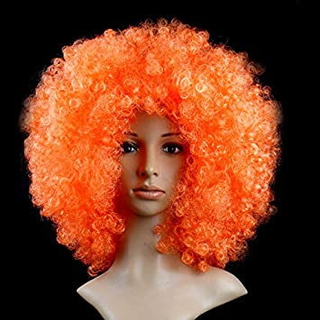 ThinkMax Cosplay Wig for Christmas Synthetic Performance Hair Wavy Round Clown Wig Football Fans Peluca Cosplay