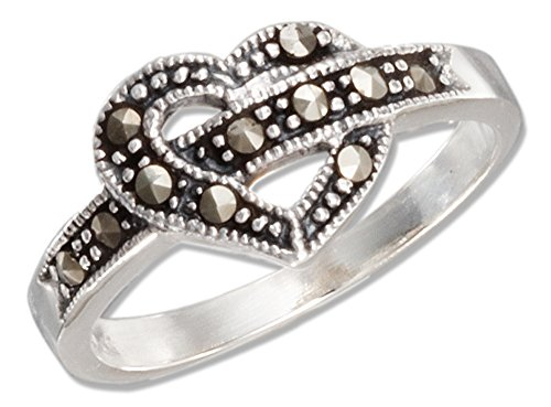 Sterling Silver Marcasite Open Heart Ring (size 07)
