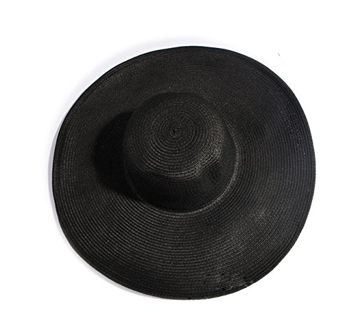 TOPWEL Women Girls Large Brimmed Garden Beach Big Summer Sun Hat Swimming Garden Beach Straw Hat for Holiday Traveling Black