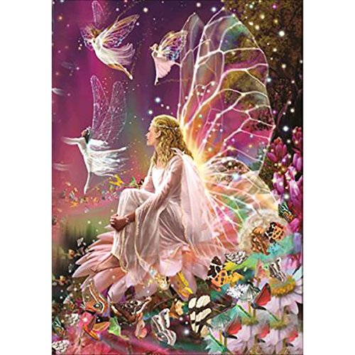 DIY 5D Diamond Painting by Number Kits, Full Drill Crystal Rhinestone Embroidery Pictures Arts Craft for Home Wall Decor Gift,Fairy Queen on The Flower