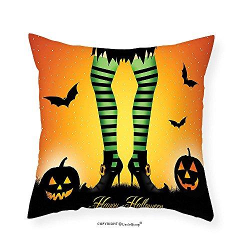VROSELV Custom Cotton Linen Pillowcase Halloween Decorations Cartoon Witch Legs with Striped Leggings Western Culture Concept Bats and Pumpkins Bedroom Living Room Dorm Decor Multi - Ninja Green Leggings Turtle
